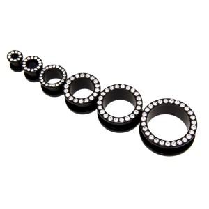 Tunnel aus schwarzem Acryl mit klaren Kristallsteinen