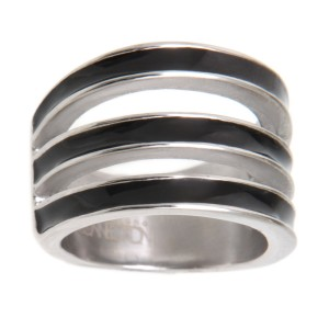 Ring aus Chirurgenstahl mit 3 schwarz emaillierten Streifen