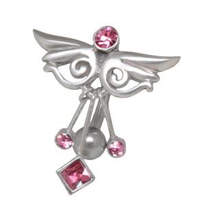 Bauchnabelpiercing 1.6x10mm mit Ornament, Fantasie-Flügel mit drei Kristall-Anhängern
