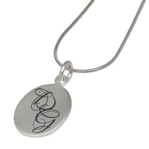 Ovaler Silber Anhänger mit Wunschgravur