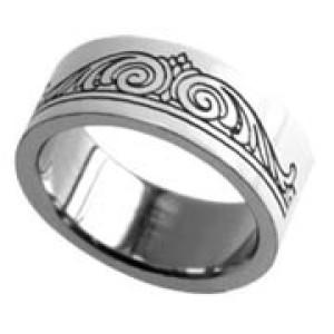 Stahlring mit gelasertem Tribal Design 036