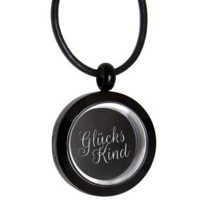 Runder Anhänger aus Edelstahl schwarz mit Ihrer Gravur personalisiert