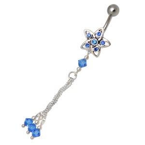 Belly Crystal Beads mit Glassteinen und Perlen, Sternmotiv, drei Kettchen