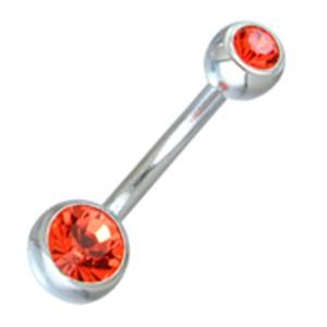 Standard Bauchnabelpiercing aus Chirurgenstahl mit einer 6mm und 4mm Kugel jeweils mit Kristall