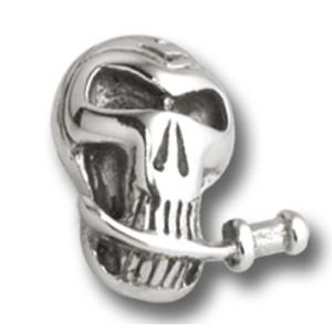 Schraubaufsatz für Labret oder Barbell Hantel Totenkopf mit Schwert zwischen den Zähnen