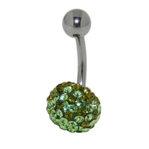 Bauchnabelpiercing mit vielen grün/oliven Kristallen in einer Epoxitmasse in 1.6x6mm / 1.6x8mm / 1.6x10mm / 1.6x12mm / 1.6x14mm