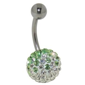 Bauchnabelpiercing mit vielen weißen und grünen Kristallen in einer Epoxitmasse in 6-14mm Länge