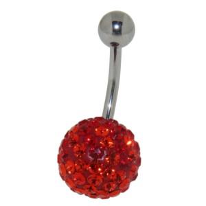 Bauchnabelpiercing mit vielen roten und orangen Kristallen in einer Epoxitmasse in 6-14mm Länge