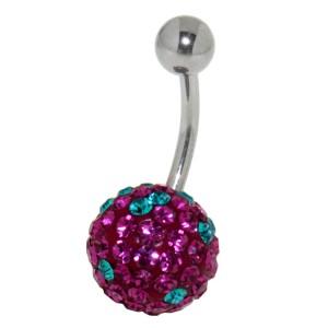 Bauchnabelpiercing mit vielen pinken und türkisen Kristallen in einer Epoxitmasse in 6-14mm Länge