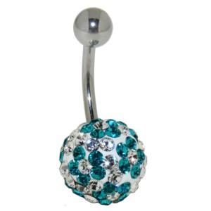 Bauchnabelpiercing mit vielen türkisen und weissen Kristallen mit Blumenmuster in einer Epoxitmasse in 6-14mm Länge
