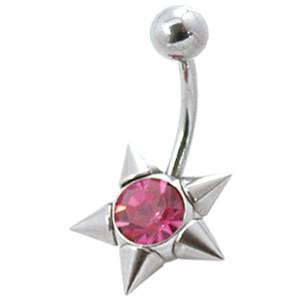 Bauchnabel Piercing mit Spitzen-Stern und mittigem Kristall