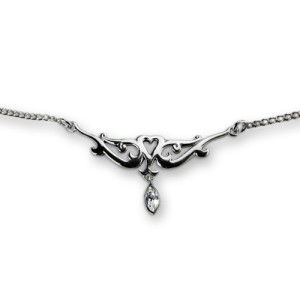 Back Belly Chain aus 925 Sterling Silber, fein mit Herz