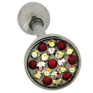 Zungenpiercing mit Kristallen 1,6x16mm
