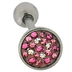 Zungenpiercing aus Chirurgenathl in 1.6x19mm mit Kristallsteinen in verschiedenen rosatönen