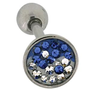 Zungenpiercing 1.6x19mm mit Kristallsteinen , farblich abgesetztes Yin Yang Motiv