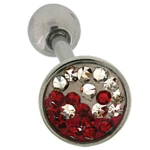 Zungenpiercing aus Chirurgenstahl mit Kristallsteinen , farblich abgesetztes Yin Yang Motiv