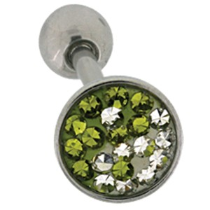Zungenpiercing aus Chirurgenstahl mit Kristallsteinen im Yin Yang Muster