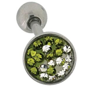 Zungenpiercing aus Chirurgenstahl mit Kristallsteinen , weiß/oliv Yin Yang Motiv