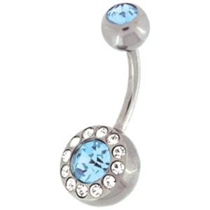 Bauchnabel Piercing mit 12 Mini-Kristallen, die um einen großen Kristall kreisen