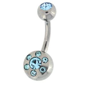 Bauchnabel Piercing mit 6 Mini-Kristallen, die um einen großen Kristall kreisen