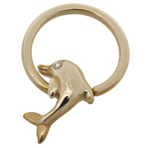 14 Karat Gold Nipple Piercing Ring Delfin mit Glasstein