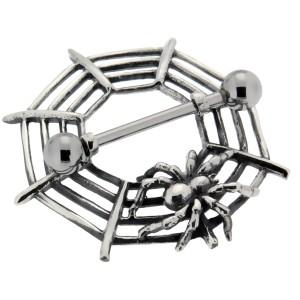 Brustwarzenpiercing aus 925 Sterling Silber Spinne