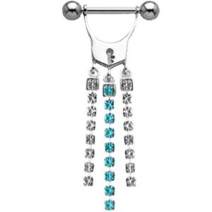 Brustwarzenpiercing aus Sterling Silber mit Kesselkette - Türschloss