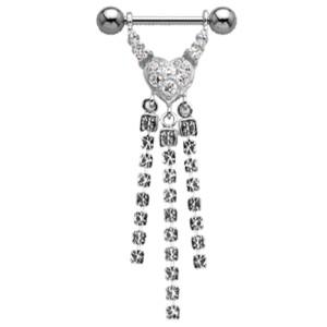 Brustwarzenpiercing aus Sterling Silber mit Kesselkette - Herz