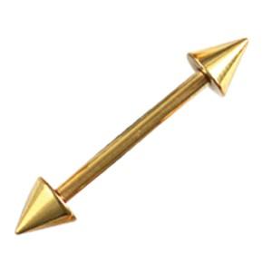Vergoldeter Stahlbarbell mit Aufschraubspitzen