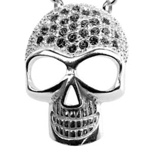 Anhänger mit Totenkopf und Svarovski Steinen - schick forever - Schädel mit schwarzen Kristallen