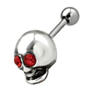 Ohrpiercing aus Stahl mit Totenkopf Design - was hast du für rote Augen