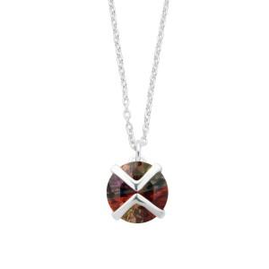 Kette und Anhänger aus 925 Sterling Silber mit einem kleinen Multicolor-Kristall
