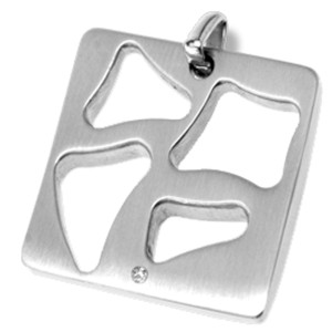 Edelstahl-Kettenanhänger mit Aussparungen und einem Kristall