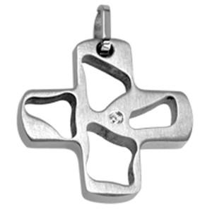 Edelstahl-Kettenanhänger in Kreuzform mit Aussparungen und einem kleinen Kristall