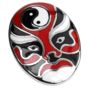 Edelstahl Kettenanhänger Chinesische Maske schwarz-rot-weiss emailliert