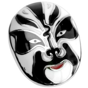 Edelstahl Kettenanhänger Chinesische Maske weiss-schwarz emailliert