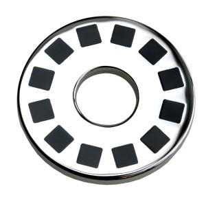 Anhänger Edelstahl - rund mit schwarzer Emaille