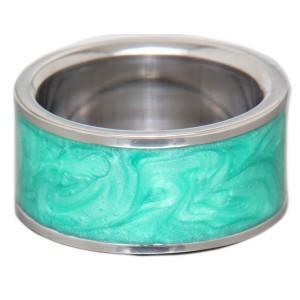 Stahlring mit farbigem marmorierten Einsatz 26