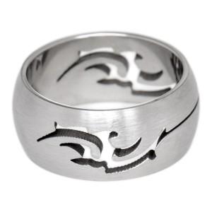 Edelstahl Ring 8.7mm  mit einem ausgefrästem Tribal Motiv