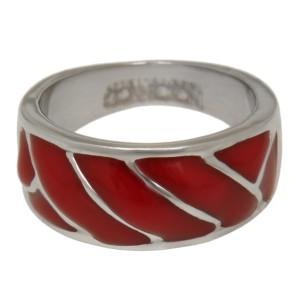 Fingerring aus Edelstahl mit roter Acryl-Auflage