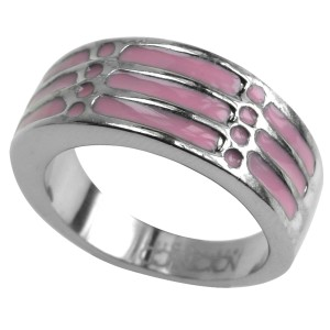 Stahlring mit rosa Acryl