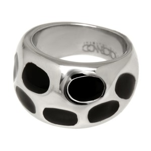Stahlring mit schwarzem Acryl 022