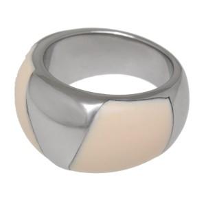 Stahlring mit weißem Acryl 055