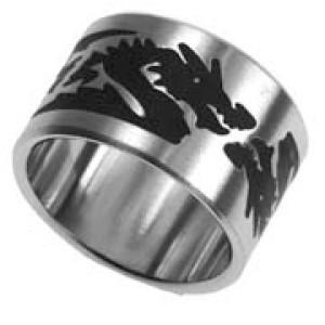 Stahlring mit schwarzem Drachen Motiv 091