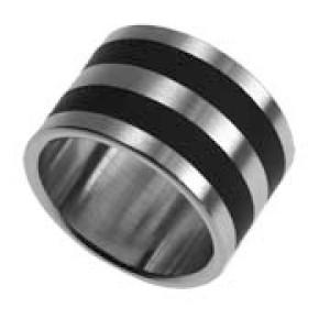 Stahlring mit schwarzen Balken
