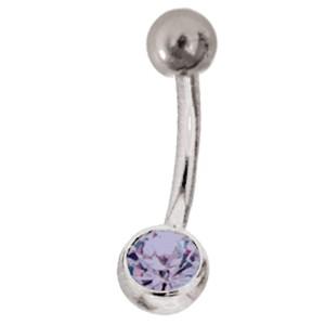 Silberne Titan Stab mit 6mm  Kristall