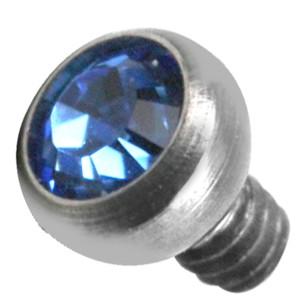 Kugelaufsatz mit Kristall für Oberflächenpiercing