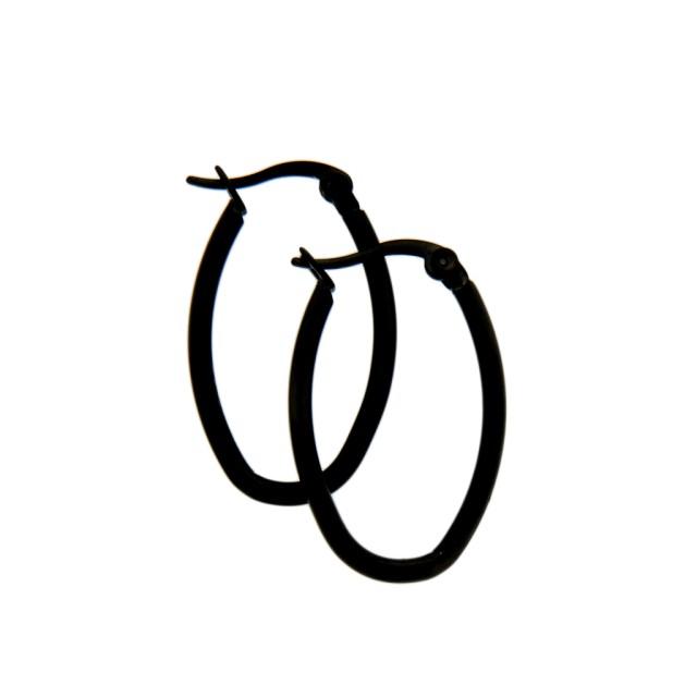 ohrringe aus stahl schwarze ovale mit klick verschlu. Black Bedroom Furniture Sets. Home Design Ideas