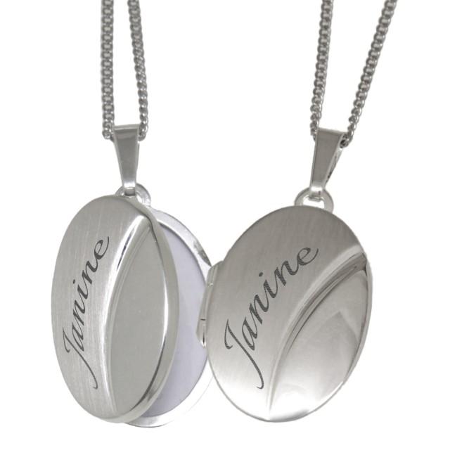 Ovales Medaillon aus 925 Sterling Silber mit Gravur [LAS-925M-6027]