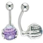 Bauchnabel Körperschmuck Piercing mit Knochenhände Design aus 925 Silber